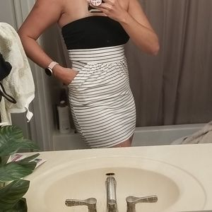 Fighting Eel black and white striped tube dress xs